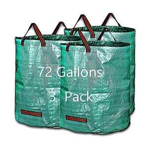 Maktliea heavy duty Waterproof Collapsible GardenBag 3-Pack 72 Gallons(H30, D26 inches) Garden Lawn and Leaf Bags Reuseable Yard Waste Bags with 4 Handles