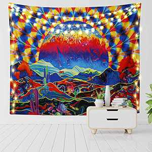 """RosieLily Trippy Sun and Mountain Tapestry Mushroom Cactus Tree Tapestries, 51""""x 59"""" Psychedelic Nature Landscape Wall Hanging for Bedroom Living Room Dorm Wall Decor"""
