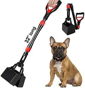 SlowTon Dog Pooper Scooper, 32'' Long Handle Foldable Pet Pooper Scooper Flat Bottom, Portable Poop Waste Pick Up Rake with Durable Spring for Lawns, Grass & Gravel