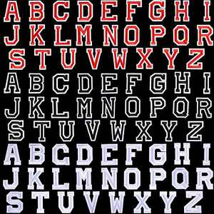 78 Pieces Iron on Letter Patches Alphabet Applique Patches Sew on Appliques with Embroidered Patch A-Z Letter Badge Decorate Repair Patches Fabric Letter Patches for Hat Shirts (Black, White, Red)
