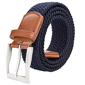 "ToyRis Men's Elastic Braided Belt Stretch Woven Casual Belt for Men and Women in Gift Box, Width 1 3/8"" (navy-a, 38""-42"")"