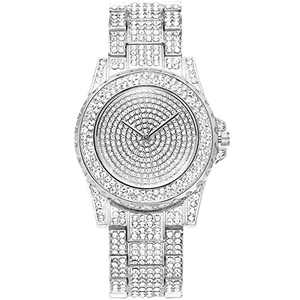 ManChDa Luxury Ladies Watch Iced Out Watch with Quartz Movement Crystal Rhinestone Diamond Watches for Women Stainless Steel Wristwatch Full Diamonds (2.Glacier Silver)