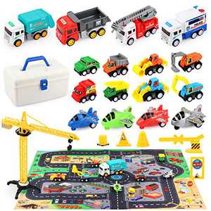 HONYAT Construction Truck Vehicles Car Toy Set with Play Mat and Car Storage Box, Engineering Truck Set with Tower Crane and Accessories, Gifts for Boys, Girls, Toddlers Ages 3-10
