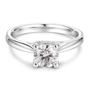 HAFEEZ CENTER 1ct Round Brilliant Cut DEF Color Moissanite Engagement Rings for Women (Elodie, 5)