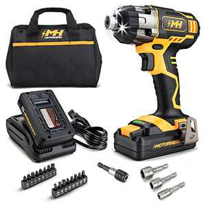 """MOTORHEAD 20V ULTRA Cordless Impact Driver Kit, Lithium-Ion, ¼"""" All-Metal Hex Chuck, Tri-Beam LED, Variable Speed Trigger, 2Ah Battery & Quick Charger, Bag, 16 Accessory Bits, 3 Nut Drivers, USA-Based"""