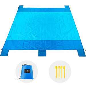 RUPUMPACK Sand Proof Beach Blanket Oversized(83'' X 78''), Compact Lightweight Waterproof Outdoor Picnic Mat with 4 Stakes and Sand Pockets, for Travel Camping Hiking