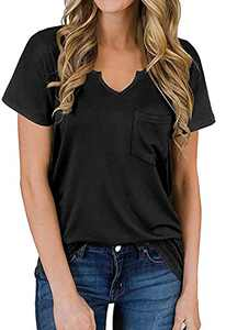 Loose Tshirts for Women Short Sleeve Tops Summer V Neck Casual Shirts for Leggings X-Large,A-Black