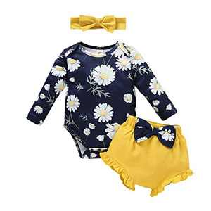 Newborn Baby Girl Floral Romper Ruffled Bowknot Shorts Bloomer Headband Outfits (Navy Blue, 18 Months)