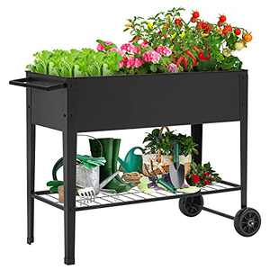 """KINGSO Raised Garden Bed Elevated Planter Box Outdoor on Wheels Mobile Planter Garden Bed Box for Herb Vegetable Flower Backyard Patio Durable Steel Planter with Shelf, 42"""" L x 19"""" W x 31"""" H"""