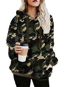 onlypuff Sherpa Pullover Women Fleece Sweaters Hoody Sweatshirt Casual Tunic Top Camouflage L