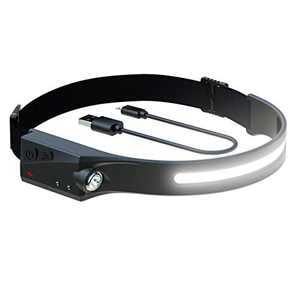 MACHFALLY LED Headlamp with All Perspectives Induction,New Upgrade, Heat and Sweat Proof,350 Lumens,Weatherproof,Rechargeable -Running,Camping,Outdoor Headlight-with Safety Light for Adults and Kids