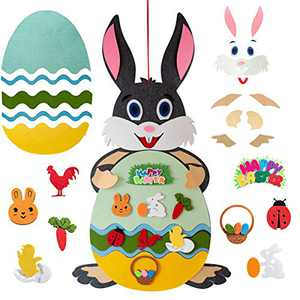 Anditoy DIY Felt Easter Bunny Set Easter Crafts for Kids Girls Boys Easter Basket Stuffers Toys Gifts Easter Decorations Party Decor