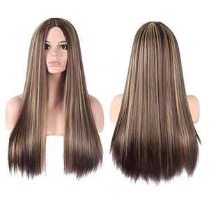 CanLux Long Straight Wig Blonde Highlight Synthetic Wig with Human Hair Like Heat Resistant Fiber Women Middle Part Wig Highlights Full Hair Wigs with Wig Cap -26 inch