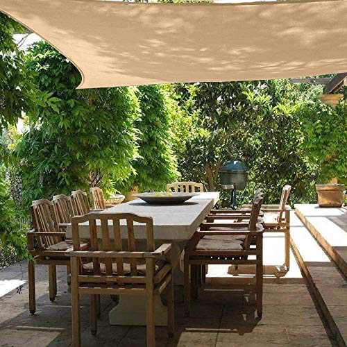 Sun Shade Sail Rectangle Canopy 6' x 8' UV Block Sunshade Awning for Outdoor Backyard Garden Deck Lawn Patio Covers, Yellow