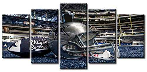 """American Football Decor Wall Art Large Blue Sports Canvas Printing Posters Picture Modern Artwork for Boys Bedroom Living Room Decorations Stretched and Framed Ready to Hang 50""""W X 24""""H"""