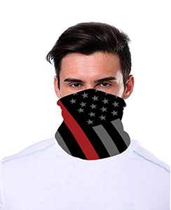 OUXWOM Unisex Neck Gaiter Face Cover Mask Lightweight Multipurpose Cover Scarf Reusable Washable Cloth Fabric Bandana for Outdoor (RED LINE Flag)