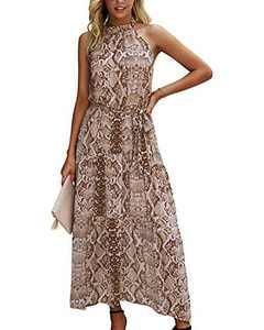 Minipeach Women's Halter Neck Floral Print Polka Dot Solid Color Long Beach Maxi Dress Sundress with Belt Khaki