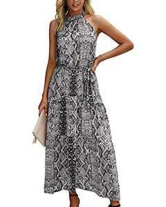 Minipeach Women's Halter Neck Floral Print Polka Dot Solid Color Long Beach Maxi Dress Sundress with Belt Grey