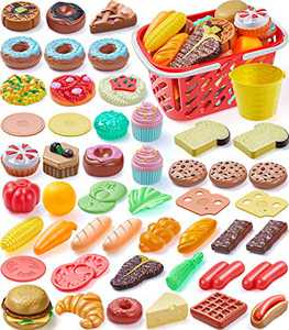 Geyiie Pretend Play Food Dessert, 54 Pieces Picnic Set for Kids with Cake Pastries Hamburger and 2 Baskets, Educational Kitchen Toys for Girls Boys Toddlers Birthday Gift