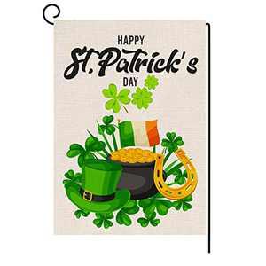 AKETCH St. Patrick's Day Garden Flag-2 Shamrocks Clover Vertical Double Sided Flag Gold Coins Garden Flags for St. Patrick's Day Decoration 12.5 x 18 Inches