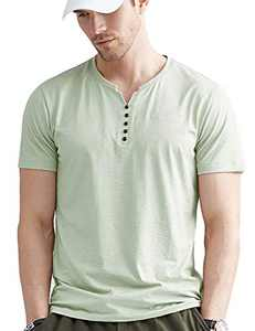 LecGee Men's Cotton Henley Shirt Short Sleeve Regular Fit Henley Top Casual Fashion T-Shirt with Buttons Green