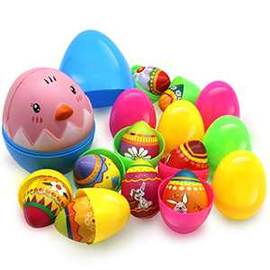 10 Pieces Plastic Easter Eggs Filled with Soft Squishies Toys for Kids, Easter Egg Hunt Game, Easter Theme Party Favor, Basket Stuff Fillers