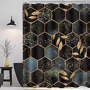 KOMLLEX Marble Shower Curtain for Bathroom 60Wx72H Inch Ombre Black Gold Abstract Geometry Plaid Fabric Home Decor Set for Men Women Modern Luxury Texture Bathroom Accessories 12 Pack Plastic Hooks