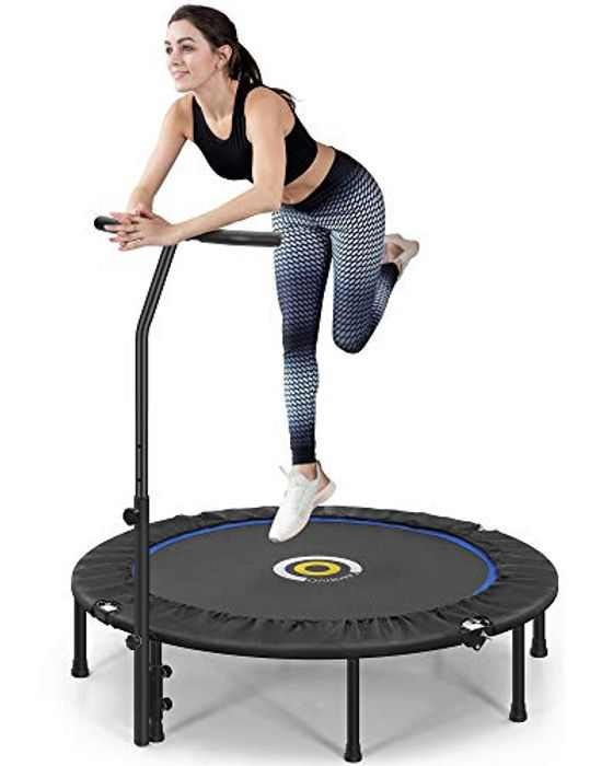 CAMBIVO Trampoline Mini for Adults , Small Fitness Trampoline 50-Inch with Adjustable Foam Handle, Foldable Exercise Trampoline for Garden Home Indoor Workout Max Load 150kg