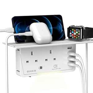 GUUKIN Plug Extension with USB Ports, Multi Plug Adapter UK, Surge Protector with Smart Night Light, Removable Shelf, 6-in-1 Cable-free Socket Outlet Shelf for Home Office Travel