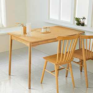 Dining Table Nnewvante 47'' Rectangular Mid Century Kitchen Table for 4/6 Person Compact Modern Bamboo Desk Home Dinner Furniture