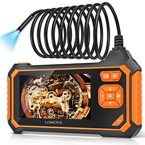 Industrial Endoscope Camera, LONOVE Borescope Inspection Camera HD 5.5mm 1080P 4.3 Inch LCD Screen with IP67 Waterproof Snake Camera 6 LED Lights, Sewer Camera with Semi-Rigid Cable (16.5FT)