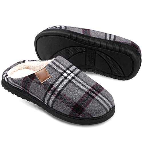 Slippers for Men Memory Foam House Mens Slippers Indoor Outdoor Coral Fleece Lined Warm Comfortable Bedroom Cottrm Shoes Lightweight and Non-Slip Rubber Sole