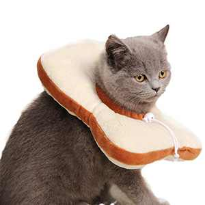 GAPZER Adjustable Cat Recovery Collar, Soft Elizabethan Collar After Surgery, Cute Toast Neck Cone for Cat Kitten Puppy Small Dog (Toast, S)