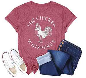 Women The Chicken Whisperer T-Shirt Funny Chicken Graphic Tops Casual Short Sleeve Tee Tops (Pink, S)