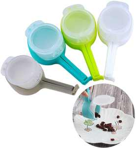 4Pcs Bag Clips for Food, Bag Sealing Clips with Pour Spouts, Clips for Food Packages Food Clips for Kitchen Food Storage and Organization