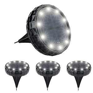 Devo Upgraded Solar Ground Lights Disk Ligths Outdoor 10LED Outdoor Garden Lights 1500mAh IP65 Waterproof Solar Lights for Landscape/Garden/Yard/Patio/Pathway/Lawn/Driveway/Walkway(4 Packs) (White)
