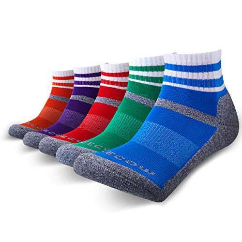 KEECOW Hiking Socks For Men & Women 5 Pairs Cushioned Crew Quarter Socks For Running,Work,Trekking,Walking (Large, Quarter - 1 X Blue,1 X Red,1 X Orange,1 X Green,1 X Purple)