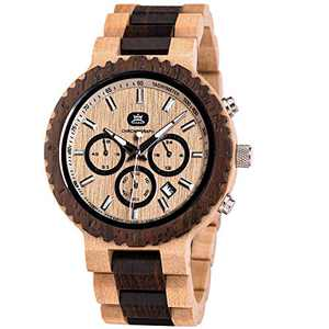 Wooden Watch Men Natural Wood Handmade Quartz Wrist Watches with Calendar and Chronograph