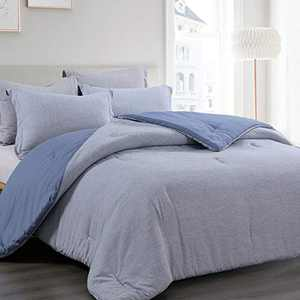 BEDELITE Twin Comforter Set - Blue Twin Soft Bedding Lightweight Comforter Set, Cationic Dyeing Striola Pattern Reversible Practical Comforter (1 Comforter 68x88 in, 1 Pillow sham 20x26 in)