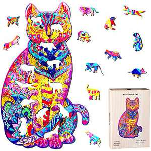 Wooden Jigsaw Puzzles Animal Shape Wood Puzzle for Adults Kids, Family Game Play Collection for Christmas Valentines Day 6.5 x 11.3 Inches (Cat)