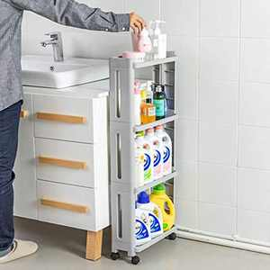 Conworld 4-Tier Slim Storage Cart(5.4 in ), Mobile Shelving Unit Organizer Slide Out Storage Rolling Utility Cart for Kitchen Bathroom Laundry Narrow Places, Plastic, Grey