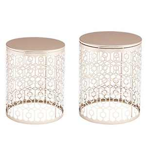 End Side Tables Set of 2,Elegant Coffee Table Decorative Nesting Round Gold Nightstands