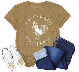 Women The Chicken Whisperer T-Shirt Funny Chicken Graphic Tops Casual Short Sleeve Tee Tops (Yellow, XL)