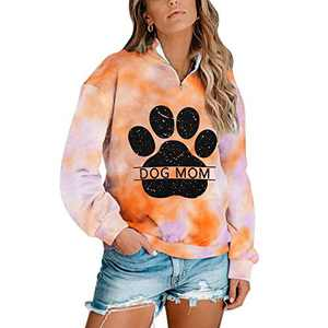 Dog Mom Tie-dye Sweatshirts Women Funny Dog Paw Graphic Shirts Casual Pullover Long Sleeve Top Blouse (Yellow, XL)
