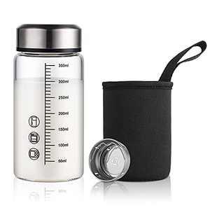 Small Tea Infuser Water Bottle - ONEISALL Tea Infuser Glass Tumbler Travel Mug for Loose Leaf Tea, 350ML/11oz Glass Milk Bottle with Sleeve & Measurement