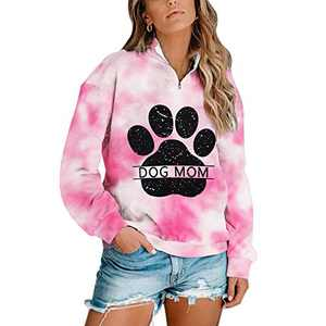 Dog Mom Tie-dye Sweatshirts Women Funny Dog Paw Graphic Shirts Casual Pullover Long Sleeve Top Blouse (#2 Pink 2, 2XL)