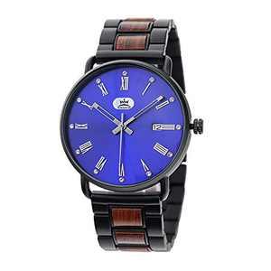 Mens Watches Wooden Band Watches Blue Slim Minimalist Quartz Wrist Watch for Men