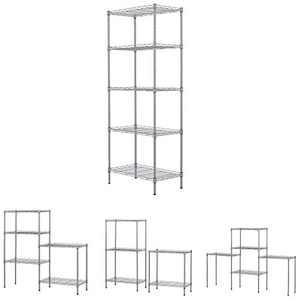5 Tier Wire Shelving Unit Floor Standing Storage Rack,Steel Storage Shelf for Office Kitchen (Silver)