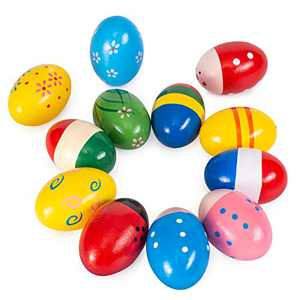 Easter Eggs Shakers for Babies,Wooden Maracas Toys,12 Packs of Natural Wooden Musical Percussion Instruments,Fun Colorful Mixer,Used for Music Parties,Musical Instruments, Filled Baskets, Easter Hunts
