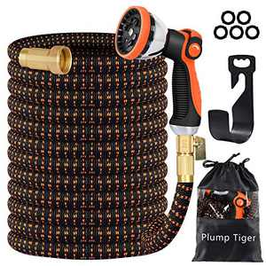 Plump Tiger Garden Hose with Durable Double-Layers Latex, Expandable Water Hose with 3/4 Solid Brass Connectors and 10 Function Zinc Spray Nozzle, Hose Pipe for Watering and Washing (100FT)